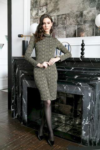 Фото платье с асимметричным воротником и застежкой на пуговицах - Платье З483а-015 (1)