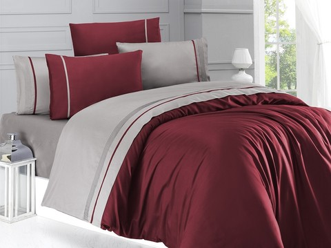 Комплект постельного белья DO&CO Сатин DELUX 2 спальный Евро цвет бордовый