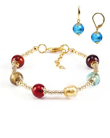 Комплект Carnavale Oro (браслет и серьги Piccolo бирюзово-голубые)