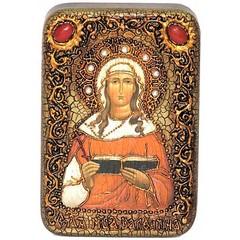 Инкрустированная Икона Святая мученица Валентина Кесарийская 15х10см на натуральном дереве, в подарочной коробке
