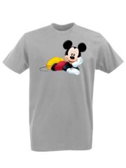 Футболка с принтом Микки Маус (Mickey Mouse) серая 0012
