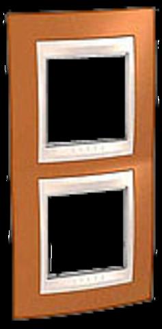 Рамка на 2 поста. Цвет вертикальная Оранжевый/Бежевый. Schneider electric Unica Хамелеон. MGU6.004V.569