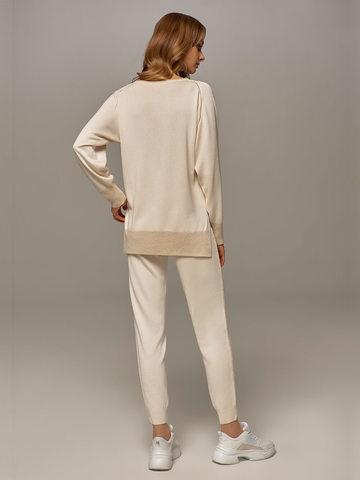 Женский джемпер белого цвета из шелка и кашемира - фото 7
