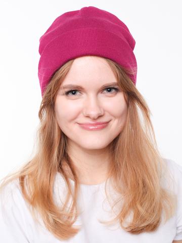 Зимняя однотонная двухслойная шапочка