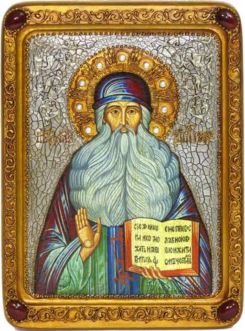 Живописная инкрустированная икона Преподобный Максим Грек 29х21см на кипарисе в подарочной коробке