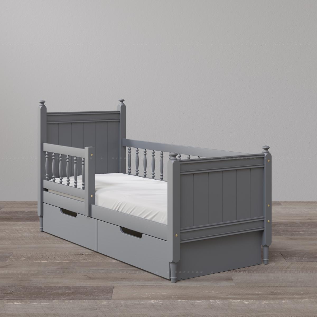 Кровать с высокими спинками. Комплектация с ящиками и бортиками (Опции). Цвет: ral7024 графит.
