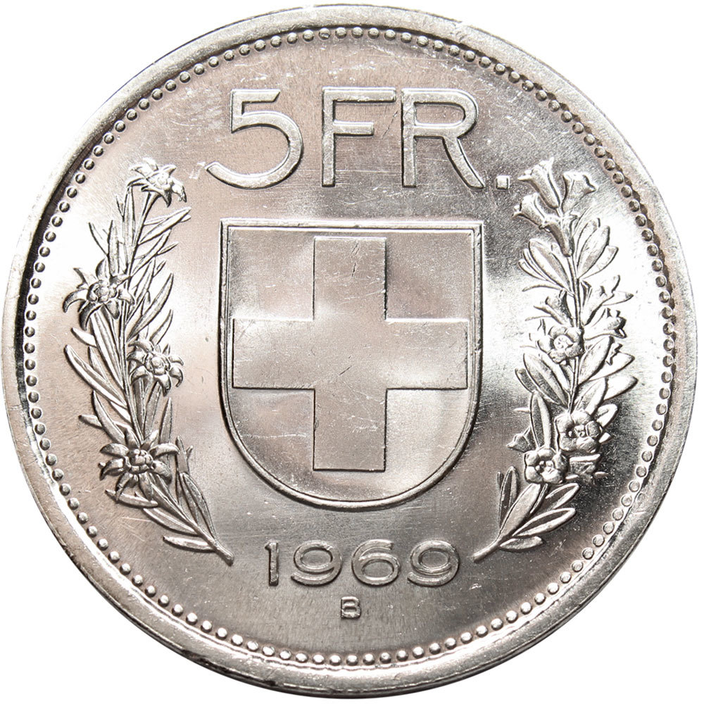 5 франков. Швейцария. Серебро. 1969 год. UNC