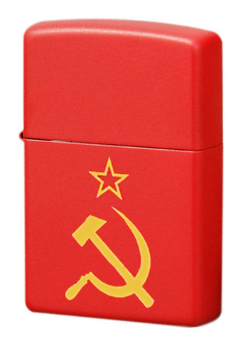 Зажигалка Zippo Серп и молот с покрытием Red Matte, латунь/сталь, красная, матовая, 36x12x56 мм123