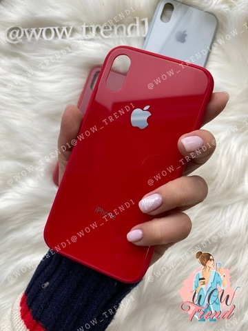 Чехол iPhone XS MAX Glass Pastel color Logo /red/
