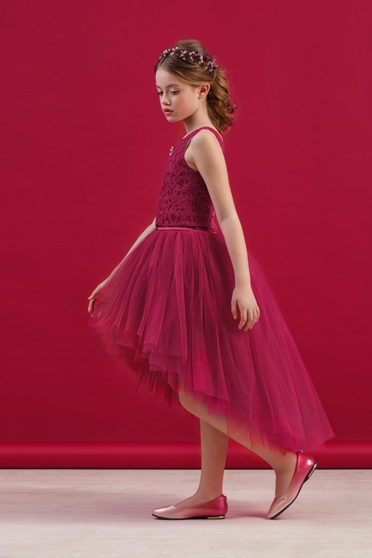 Комплект (блузка, юбка) бордовый для девочки 64-8009-3