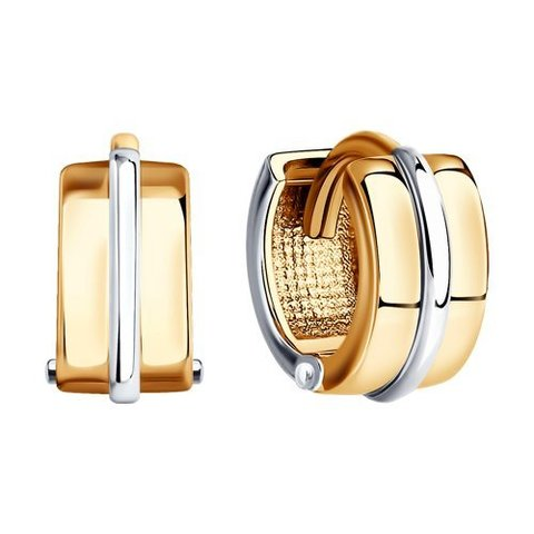 029465 - Серьги мини-конго широкие из комбинированного золота