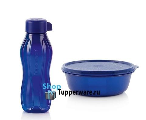 эко бутылка мини 310 мл и хит парад 600мл в темно-синем-цвете