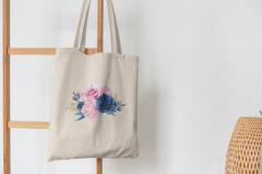 Сумка-шоппер с принтом Цветы (Розы) бежевая 006