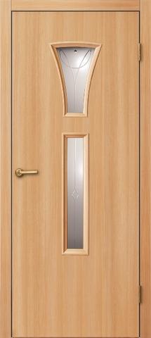 Дверь ДО 104 (светлый ильм, остекленная лакированная), фабрика Краснодеревщик