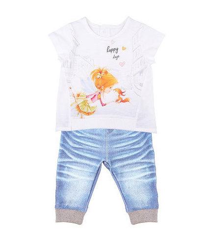 Папитто. Комплект футболка и штанишки для девочки с бельчонком FASHION JEANS