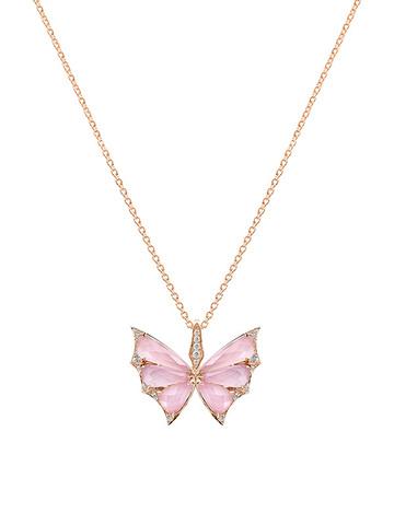 73094 - Колье Butterfly из золоченого серебра с розовым кварцем
