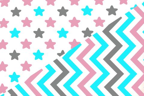 """Постельное белье """"Звезды графит, лаванда, бирюза - зигзаги графит, лаванда, бирюза"""""""