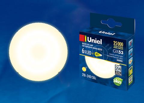 LED-GX53-6W/WW/GX53/FR PLZ01WH Лампа светодиодная, матовая. Теплый белый свет. Картон. ТМ Uniel.