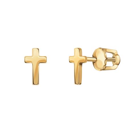 20903- Серьги-пусеты из золота в форме маленьких крестиков