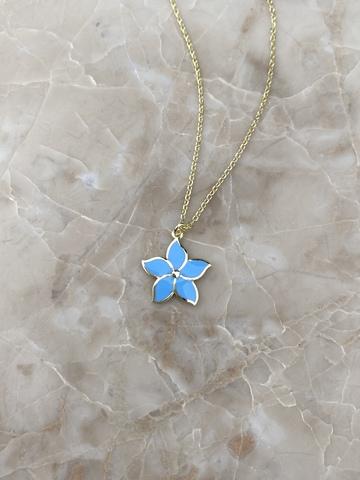 Колье Карамбола из серебра с голубой эмалью
