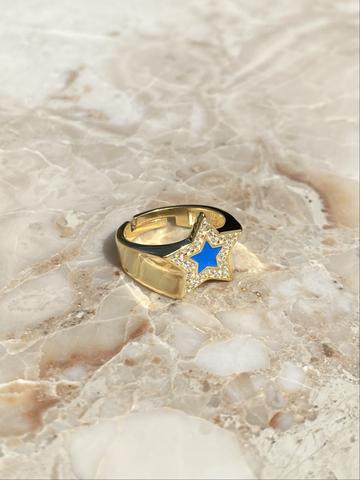 Кольцо из позолоченного серебра с голубой эмалью