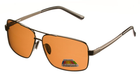 Металлические очки с коричневыми поляризованными линзами