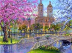 Картина раскраска по номерам 40x50 Вид на здания через мост