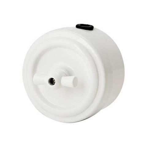 Выключатель металлический 2 клавишный/проходной (белый)