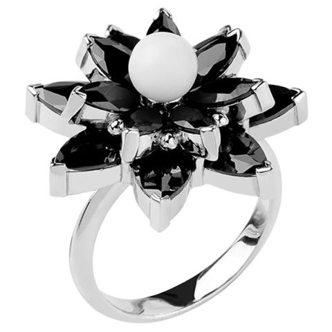 Кольцо из серебра с черной нано шпинелью и белым кварцем  Арт.1147н-шп-кв