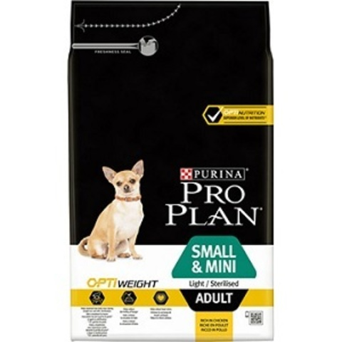 Pro Plan Optiweight сухой корм для собак мелких и карликовых пород стерилизованных или склонных к избыточному весу с курицей