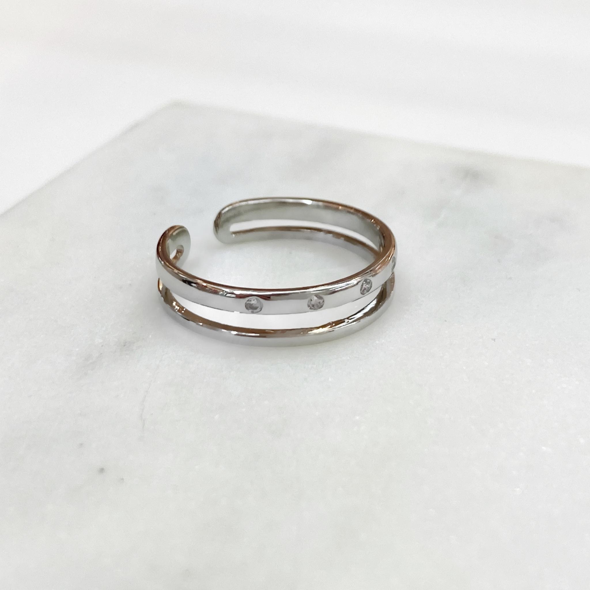 Кольцо двухрядное с малыми цирконами (свободный р-р)