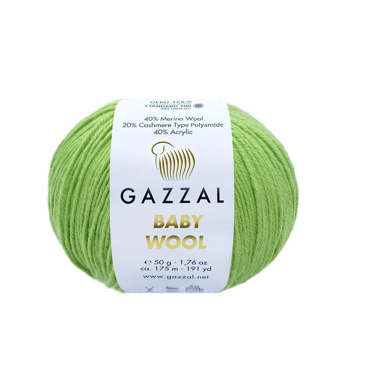 Пряжа Gazzal Baby Wool 821 салатовый