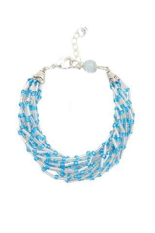 Бисерный браслет голубой Facilita Silver Aqua