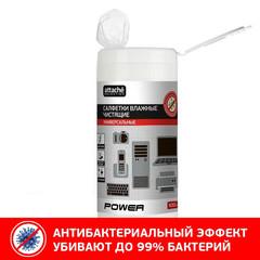 Салфетки Attache Selection Power в тубе универсальные антибактериальные (100 штук)
