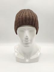 Мужская трикотажная шапка по голове, с отворотом, крупная вязка, коричневая