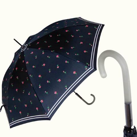 чёрный зонт-трость с розами, полупрозрачная ручка