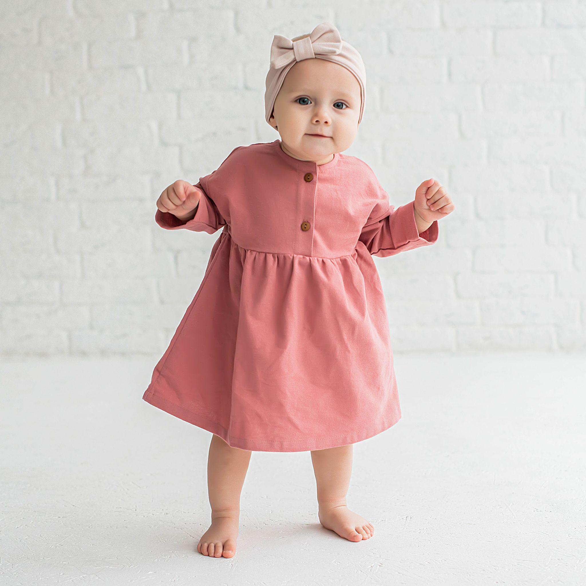 Flannel dress 0+, Tea Rose