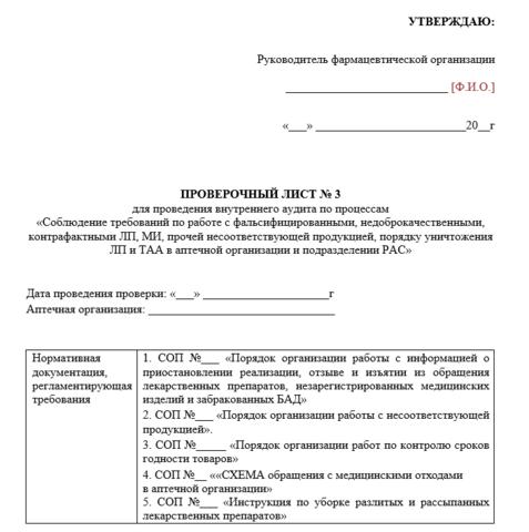 Проверочный лист Соблюдение требований по работе с фальсифицированными, недоброкачественными, контрафактными лекарствами