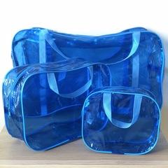 Тонированная прозрачная сумка в роддом с 2 косметичками , голубая, вид 3