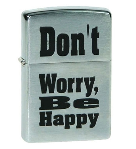 Зажигалка Zippo Don't worry с покрытием Brushed Chrome, латунь/сталь, серебристая, матовая123
