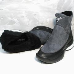 Полусапожки женские зимние Jina 7195 Leather Black-Gray