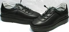 Осенние кожаные кроссовки кеды на толстой подошве женские Rozen M-520 All Black.