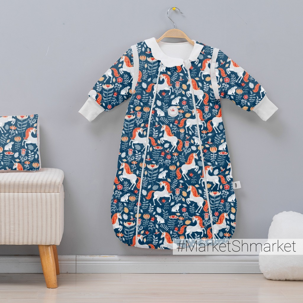 Единороги, зайцы, цветы на синем фоне (Дизайнер Irina Skaska)