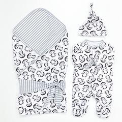 СуперМамкет. Комплект для выписки с комбинезоном, шапочкой и пледом Пингвины серый вид 2