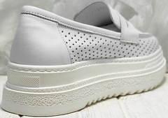 Летние туфли кроссовки женские на высокой подошве Derem 372-17 All White.