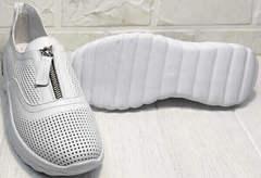 Белые сникерсы на танкетке кроссовки на толстой подошве летние женские Wollen P029-259-02 All White.