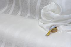 Льняная вуаль  фактура ПОЛОСКА цвет БЕЛЫЙ