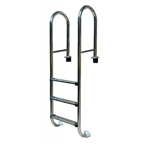 Лестница усиленная 3 ступ. с накладкой люкс, нерж. AISI-304 (узкий борт) POOLKING