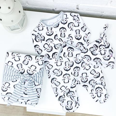 СуперМамкет. Комплект для выписки с комбинезоном, шапочкой и пледом Пингвины серый