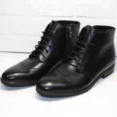 Классические ботинки мужские зимние Ikoc 3640-1 Black Leather.